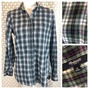 MADEWELL Plaid Shirt Flannel Button Down Green Med